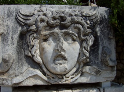 Hellenistic gorgon's head at the Temple of Apollo at Didyma (Miletus). Photo by Alison Innes.