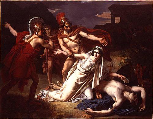 Sébastien Norlin. Antigone donnant la sépulture à Polynice. 1825, Paris, Ecole Nationale Supérieure des Beaux-Arts.